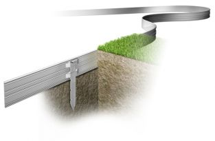 AllEdge Premium Aluminium Garden Edging 5mm Thick Edge With 3 Stakes - Pack of 20