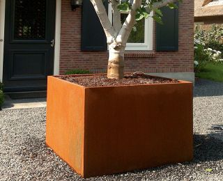 120cm Andes Corten Steel Cube Planter With Feet