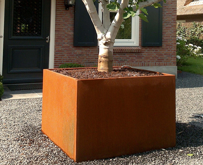 120cm Andes Corten Steel Cube Planter By Adezz
