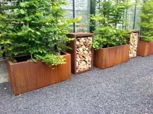 120cm Andes Corten Steel Trough With Feet By Adezz