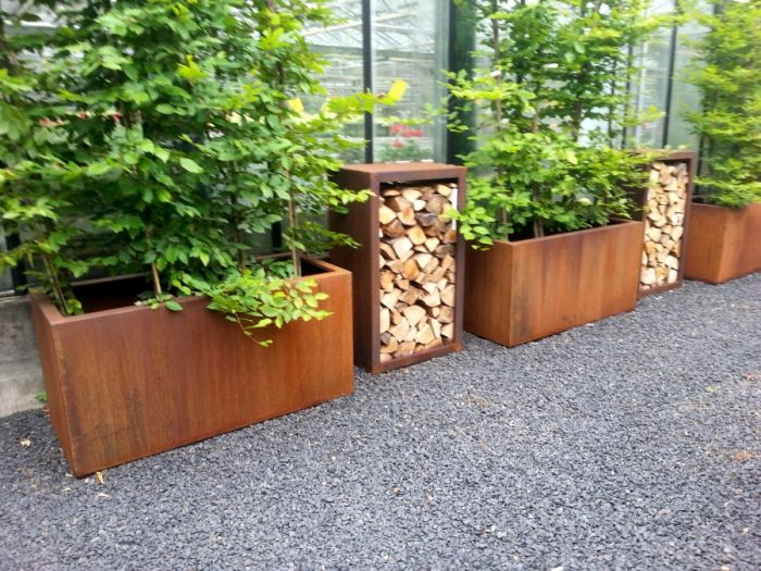 150cm Andes Corten Steel Trough With Feet By Adezz