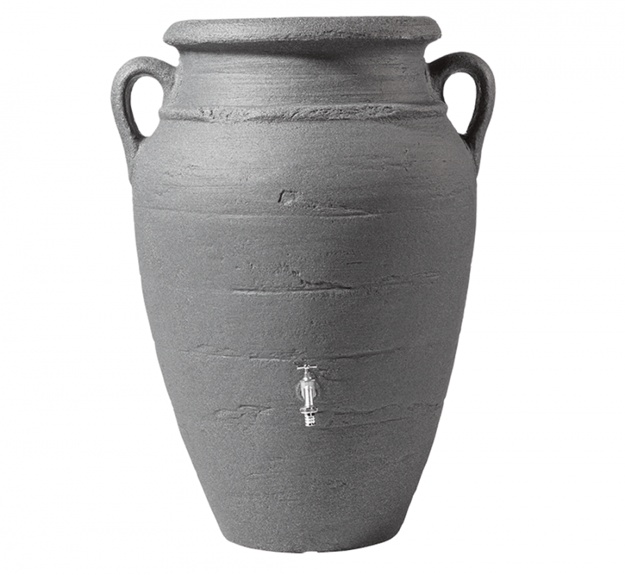 600 Litre Antique Amphora Water Butt with Planter in Dark Granite