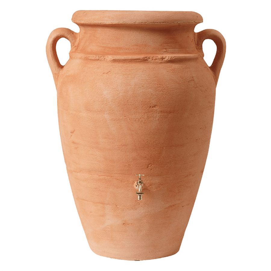 250 Litre Antique Amphora Water Butt with Planter in Terracotta