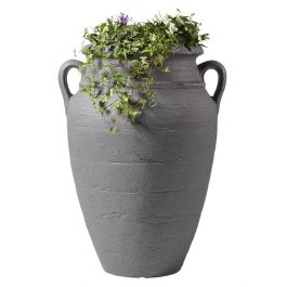 90 Litre Antique Plant Amphora Water Butt with Planter in Dark Granite