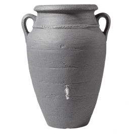 260 Litre Antique Wall Amphora Water Butt with Planter in Dark Granite