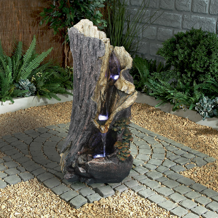 Tree Stump Water Feature With Lights 163 329 99