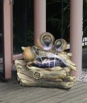 Three Jugs On Log Water Feature With Lights