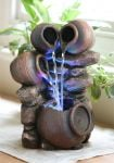 Triple Trickle Honey Pots Water Feature with LED Lights - H27cm