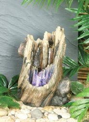 Tree Stump Water Feature With Light