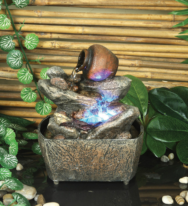 Miniature Jug On Stone Water Feature With Light