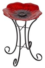 H56cm Large Shimmering Poppy Bird Bath