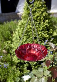H29cm Rose Style Hanging Glass Bird Feeder/Bath by Smar Garden