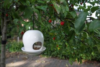 White Ceramic Hanging Bird Feeder - 18cm (7in)