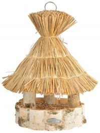 Thatched Silver Birch Hanging Bird Table - 37cm (1ft 2in)