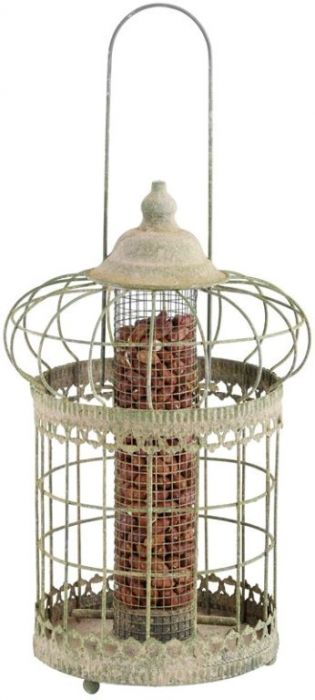 Green Aged Metal Squirrel Proof Mesh Peanut Feeder - 36cm (1ft 2in)