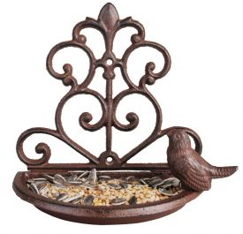 Cast Iron Wall Bird Seed Feeder - 18cm (7in)