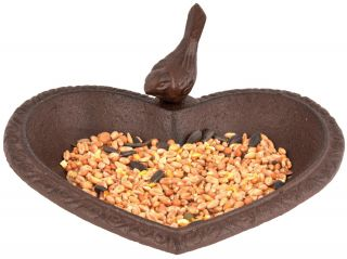 Heart Shaped Cast Iron Bird Bath/Feeder - 17cm (6in)