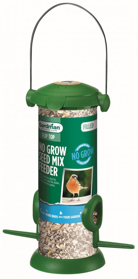 Filled Flip Top No Grow Seed Mix Bird Feeder by Gardman