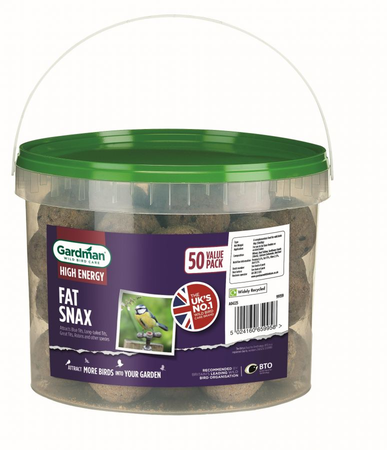 No Nets Fat Snax Bird Feed Balls by Gardman - Tub of 50