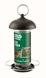 Black Steel Seed Feeder for Wild Birds by Gardman