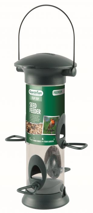 Premium Flip Top Seed Feeder for Wild Birds by Gardman