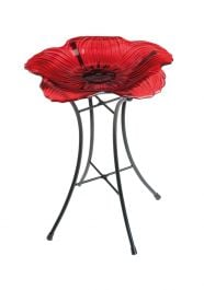 Ornamental Glass Poppy Bird Bath by Gardman