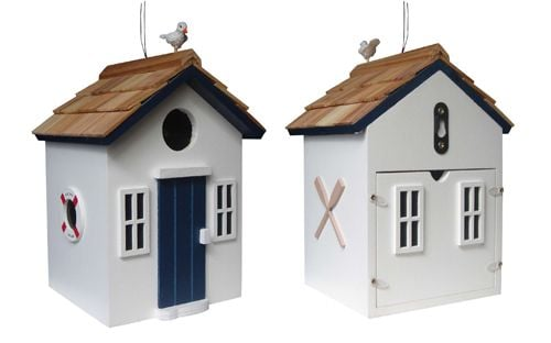 Bayside Beach Hut Bird House - White