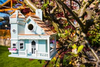 Flower Pot Cottage Bird House - Blue
