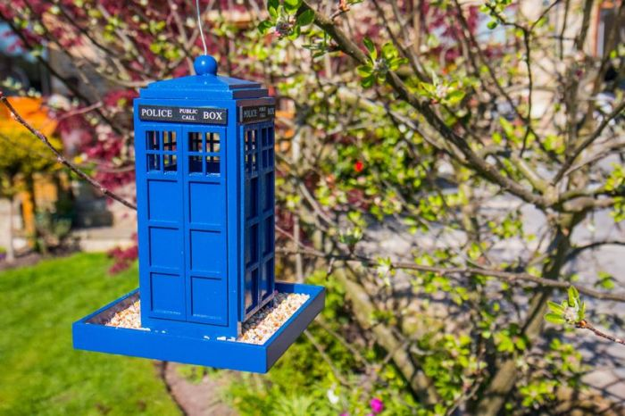 Blue Police Box Bird Feeder