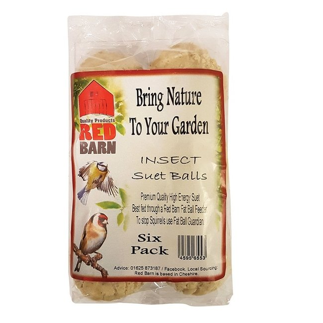 Red Barn Insect Suet Fat Balls Wild Bird Feed - Pack of 6