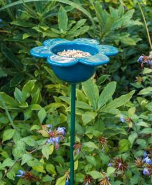 Ceramic Petal Bird Feeder (Blue)