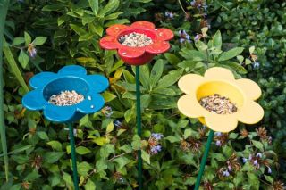 Set of Ceramic Petal Bird Feeders