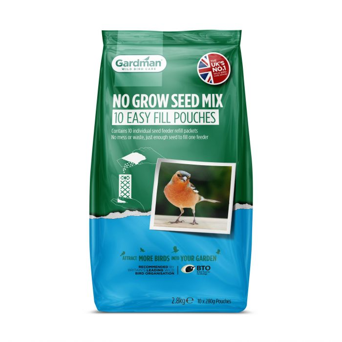 No Grow Seed Mix Easy Fill Pouches for Wild Birds by Gardman