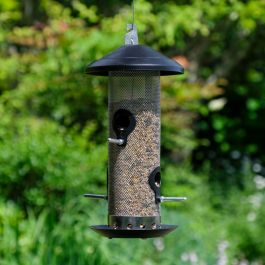 Extra-Strong Black Steel Seed Bird Feeder