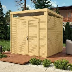 8ft x 8ft Unpainted Pent Security Shed by Rowlinson