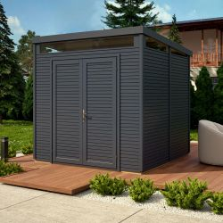 8ft x 8ft Anthracite Grey Pent Security Shed by Rowlinson