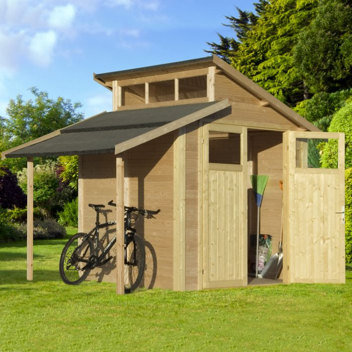 10ft x 7ft Unpainted Skylight Shed with Lean-To by Rowlinson®