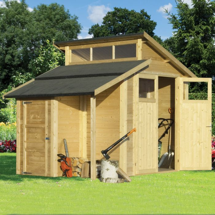 10ft x 7ft Unpainted Skylight Shed with Store by Rowlinson