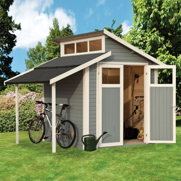 10ft x 7ft Light Grey Skylight Shed with Lean-To by Rowlinson®