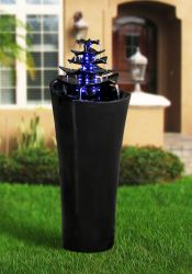 Tokyo Water Feature With LED Lights Midnight Black
