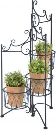 Outdoor Three Tier Folding Plant Stand - 97.3cm