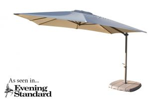 Amalfi 3m Square Cantilever Parasol in Almond by Bridgman