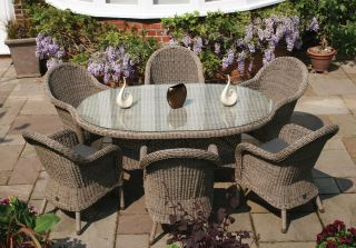 Bali Six Seater Oval Rattan Dining Set by Bridgman