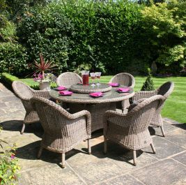 Bali Six Seater Round Rattan Dining Set by Bridgman