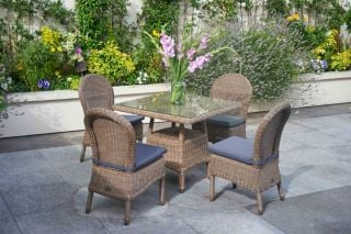 Bali Four Seater Square Rattan Dining Set by Bridgman