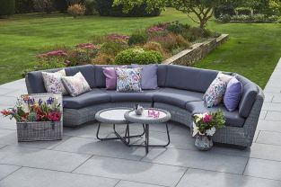 National Trust Cliveden Rattan Curved Sofa Set by Bridgman