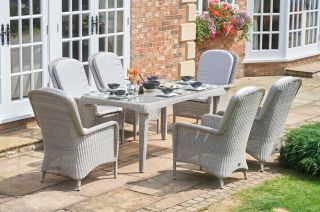 Evesham Six Seater Rectangular Rattan Dining Set by Bridgman