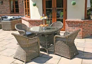 Mayfair Four Seater Rattan Round Dining Set by Bridgman