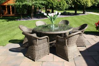 Mayfair Six Seater Rattan Round Dining Set by Bridgman