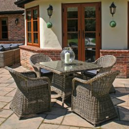 Mayfair Four Seater Square Rattan Dining Set by Bridgman